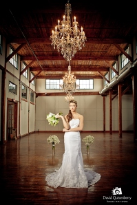 Bride photographed in Market Place event center of McKinney Flour Mill.
